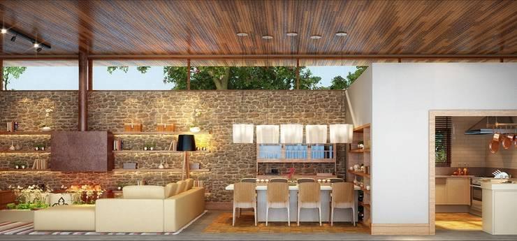 Residência Itatiba : Salas de jantar  por SESSO & DALANEZI