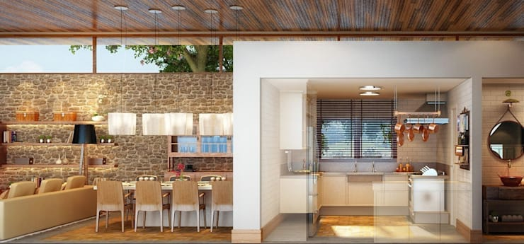 Residência Itatiba : Cozinhas  por SESSO & DALANEZI