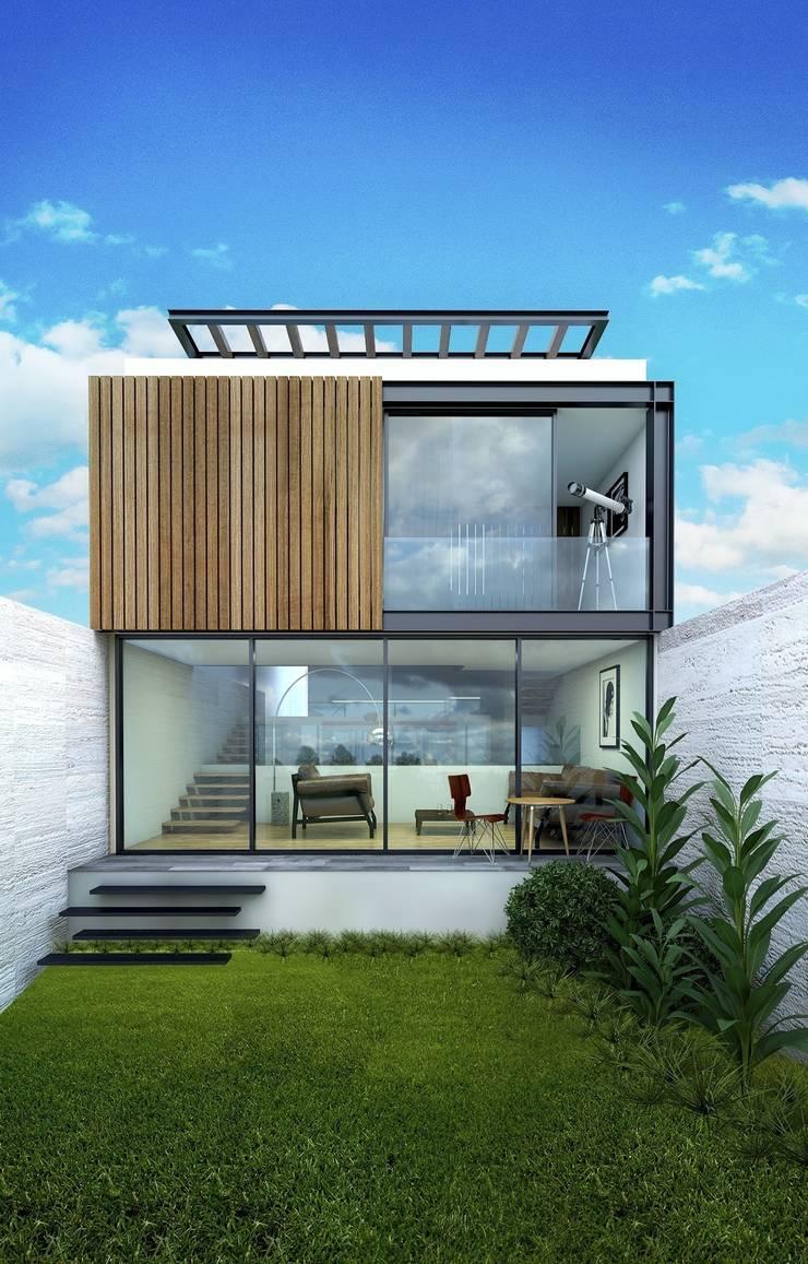 Casa Tepetate: Casas de estilo  por Taller Habitat Arquitectos