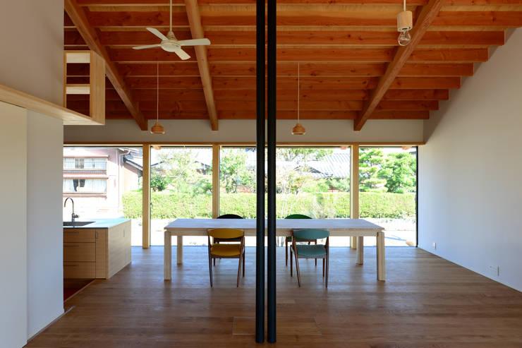 「林の中に住む。」: 丸山晴之建築事務所が手掛けたダイニングです。