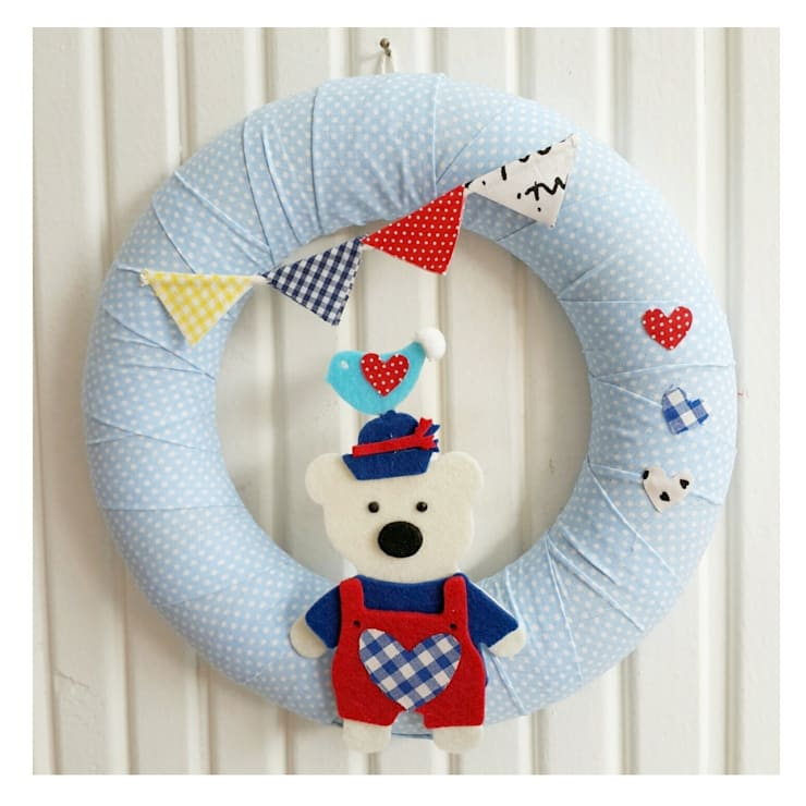 Sesiber – Cute Sailor Bear, Bird and Banner, Polka Dots Baby Blues For Baby Boy Door Wreath: modern tarz Çocuk Odası