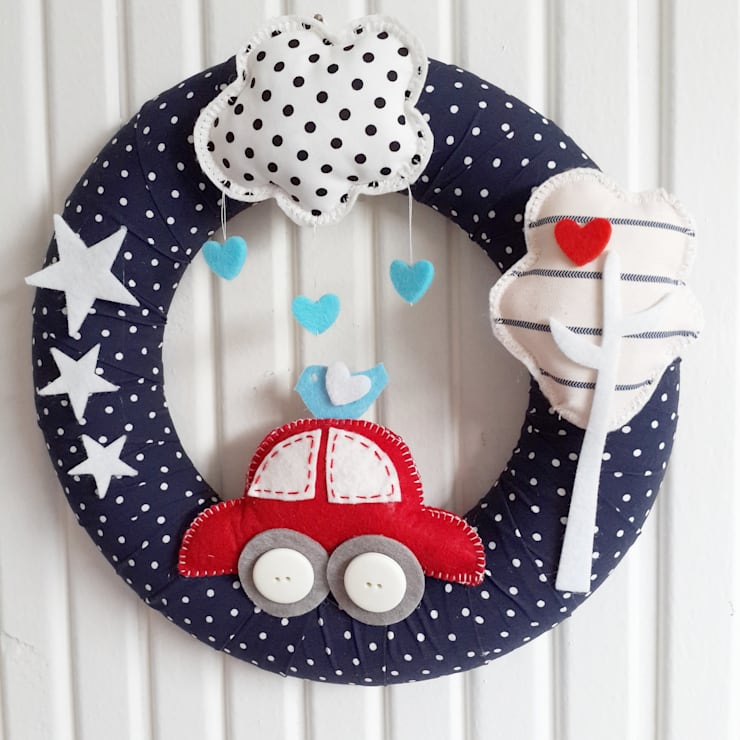 Sesiber – Red Car, Tree and Cloud Baby Boy Foor Wreath:  tarz Çocuk Odası