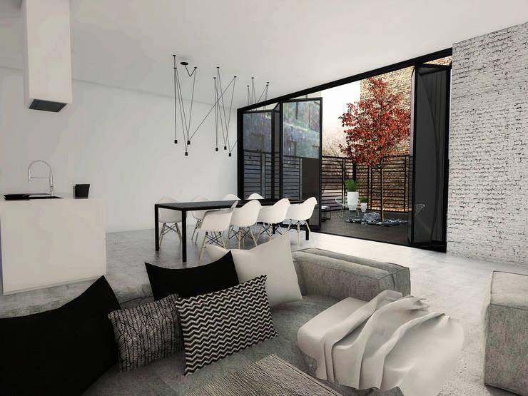 Projekt mieszkania w Gliwicach: styl , w kategorii Salon zaprojektowany przez FOORMA Pracownia Architektury Wnętrz,Minimalistyczny
