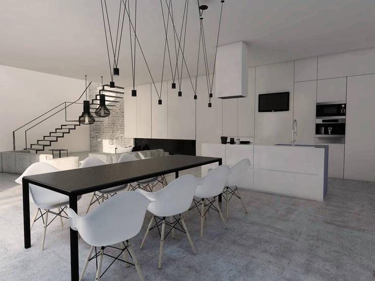 Projekt mieszkania w Gliwicach: styl , w kategorii Jadalnia zaprojektowany przez FOORMA Pracownia Architektury Wnętrz,Minimalistyczny