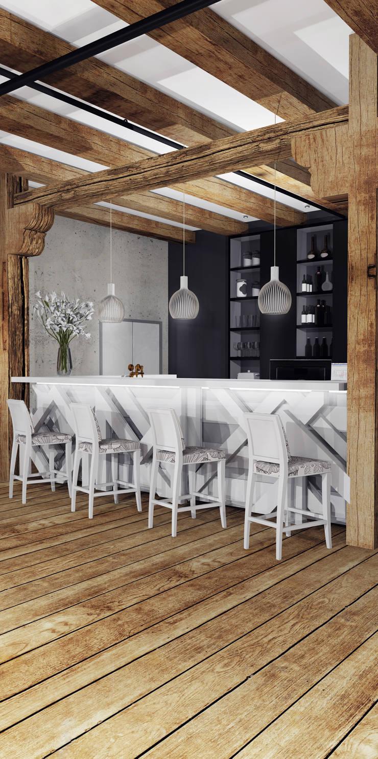 Część barowa: styl , w kategorii Gastronomia zaprojektowany przez FOORMA Pracownia Architektury Wnętrz,Rustykalny