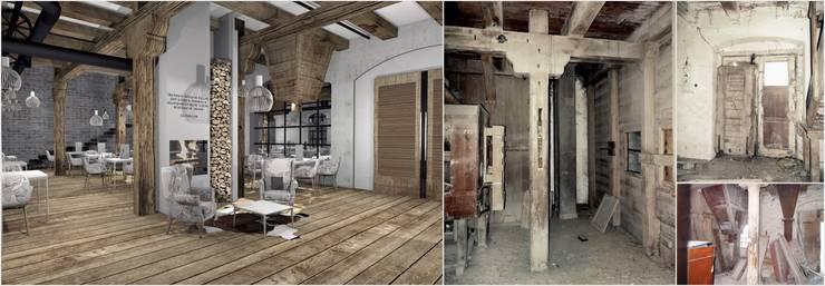 Restauracja Stary Młyn: styl , w kategorii  zaprojektowany przez FOORMA Pracownia Architektury Wnętrz,Rustykalny