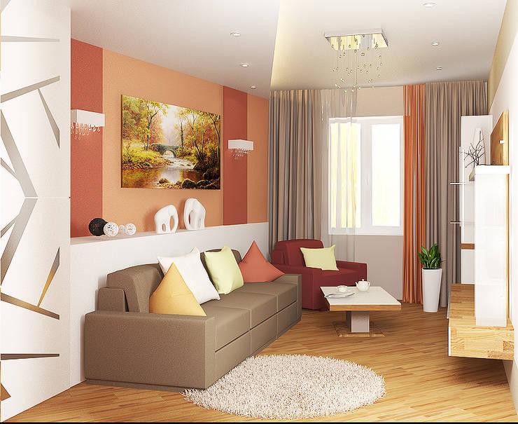 4х комнатная квартира: Гостиная в . Автор – Мозжерина Марина , Эклектичный