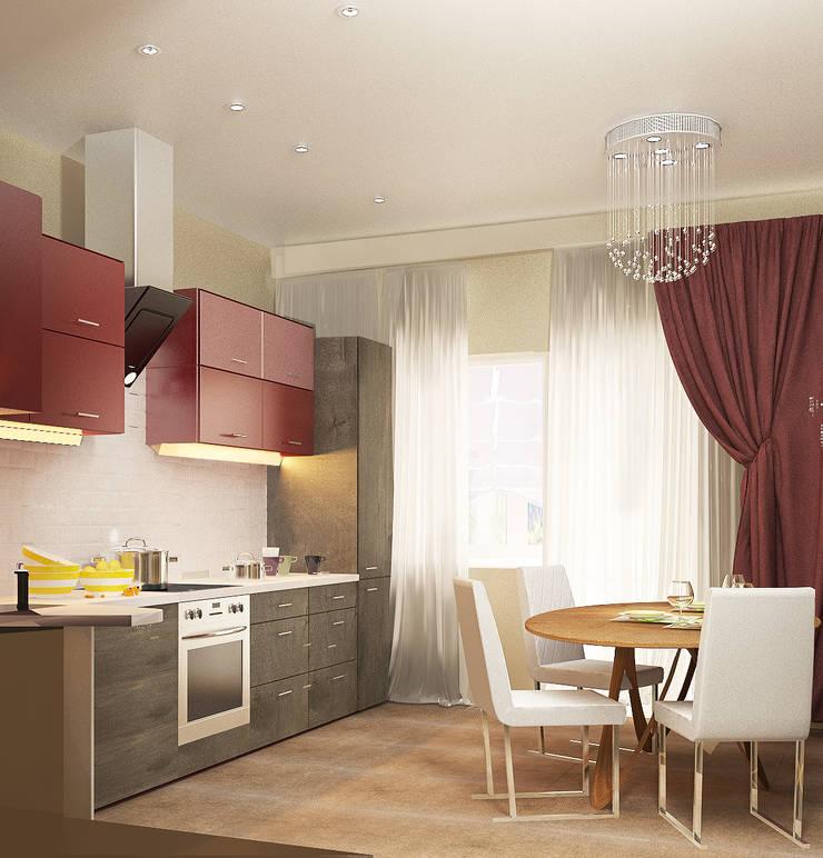4х комнатная квартира: Кухни в . Автор – Мозжерина Марина , Эклектичный