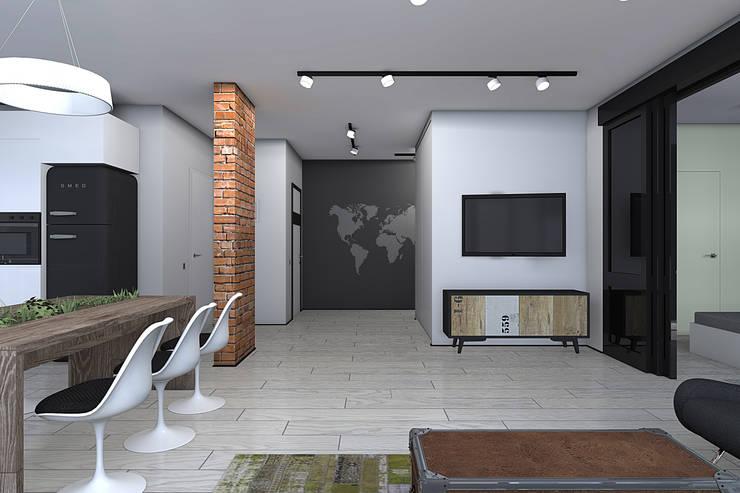 Квартира в стиле лофт: Гостиная в . Автор – ИНТЕРЬЕР-ПРОЕКТ.РУ,