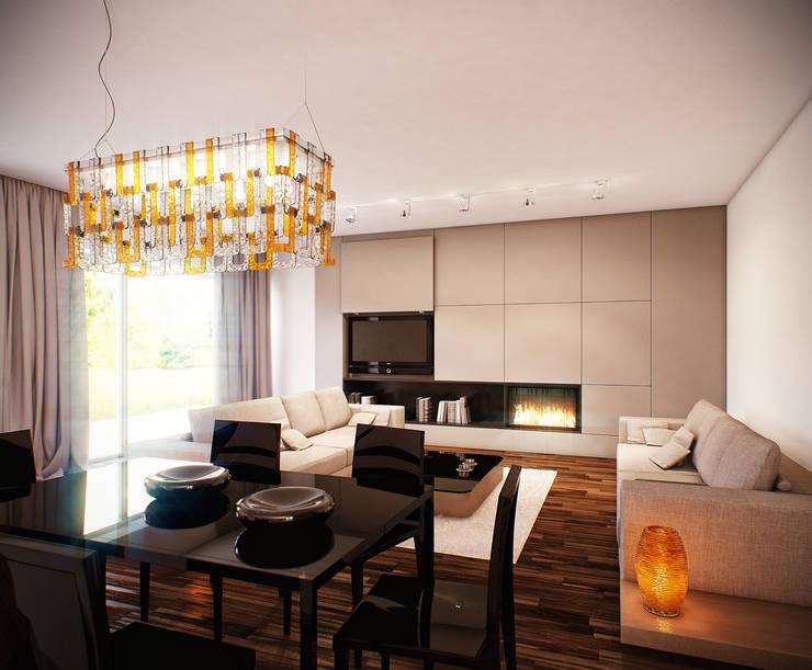 Salon połączony z jadalnią: styl , w kategorii Jadalnia zaprojektowany przez KODO projekty i realizacje wnętrz