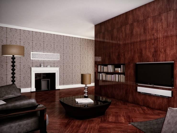 Salon z kominkiem: styl , w kategorii Salon zaprojektowany przez KODO projekty i realizacje wnętrz