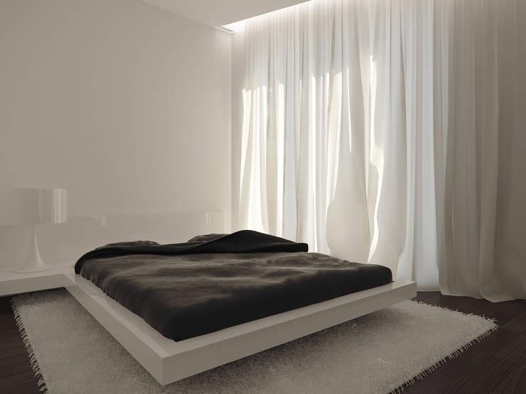 Minimalistyczna sypialnia: styl , w kategorii Sypialnia zaprojektowany przez KODO projekty i realizacje wnętrz