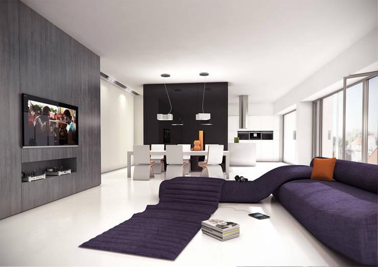 Salon z jadalnią: styl , w kategorii Salon zaprojektowany przez KODO projekty i realizacje wnętrz,