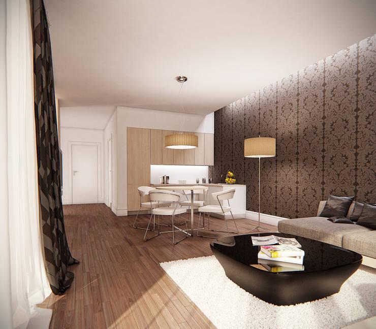 Salon z aneksem kuchennym i jadalnią: styl , w kategorii Salon zaprojektowany przez KODO projekty i realizacje wnętrz
