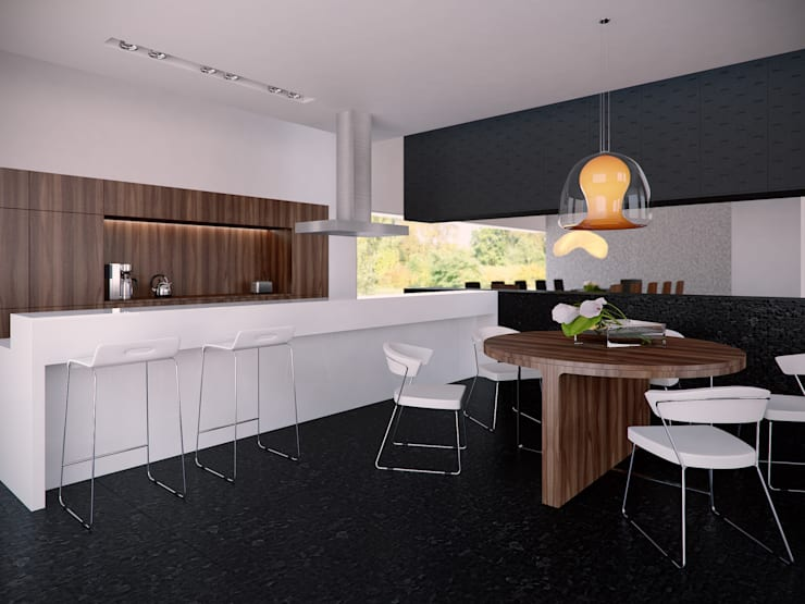 Kuchnia z aneksem jadalnianym: styl , w kategorii Kuchnia zaprojektowany przez KODO projekty i realizacje wnętrz