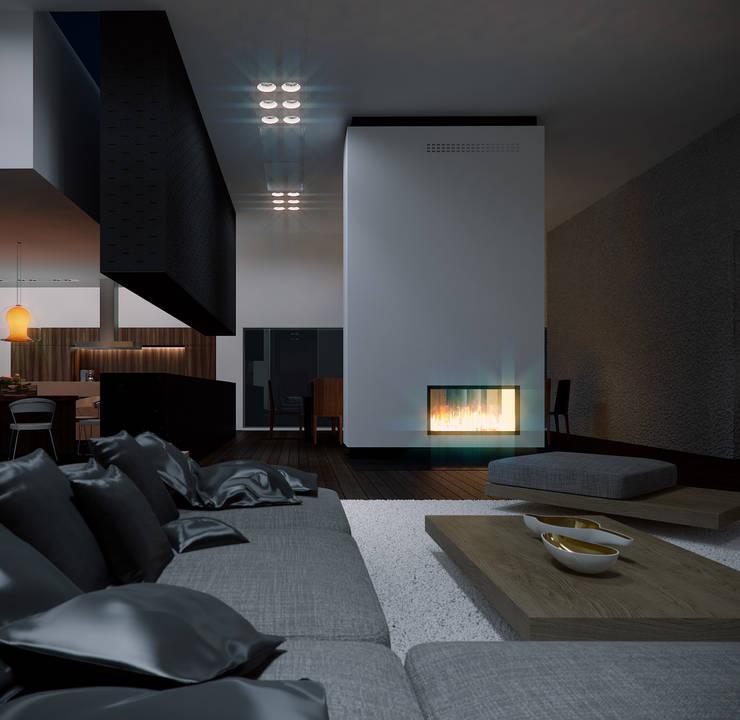 Salon z kominikiem: styl , w kategorii Salon zaprojektowany przez KODO projekty i realizacje wnętrz