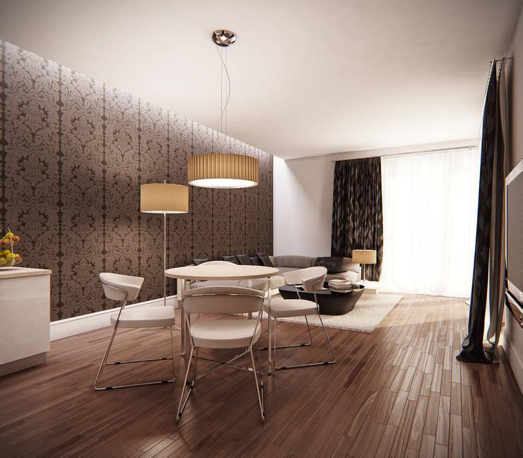 Salon z jadalnią: styl , w kategorii Salon zaprojektowany przez KODO projekty i realizacje wnętrz
