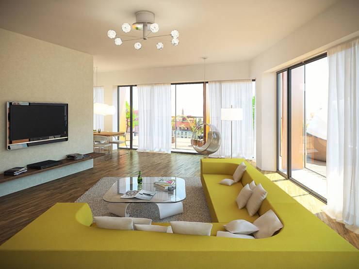 Wohnzimmer von KODO projekty i realizacje wnętrz