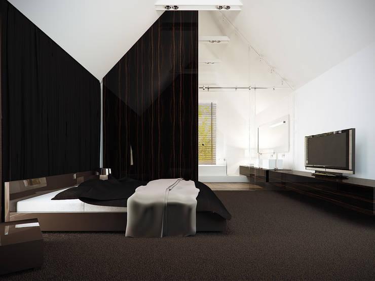 Sypialnia na poddaszu: styl , w kategorii Sypialnia zaprojektowany przez KODO projekty i realizacje wnętrz
