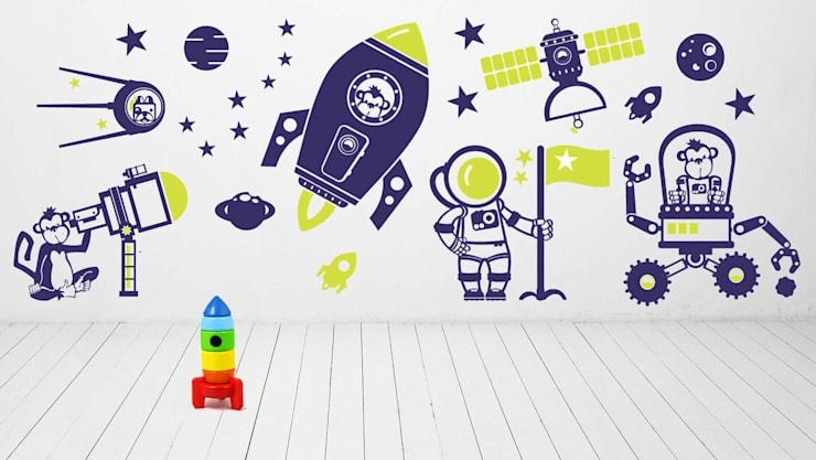 KOSMOS, RAKIETA naklejki ścienne dla dzieci: styl , w kategorii Pokój dziecięcy zaprojektowany przez Pracownia Golden Sheep