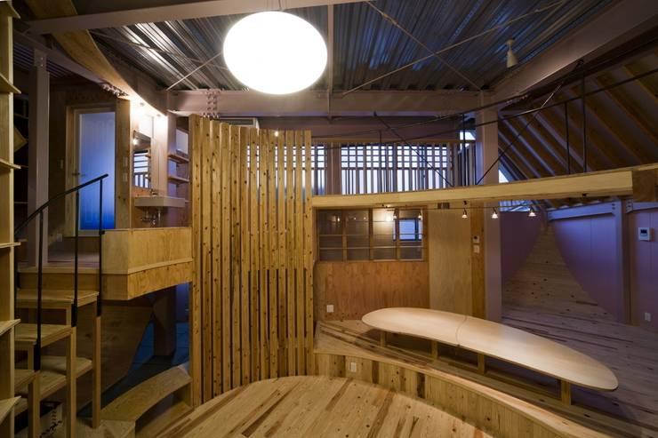 リビングを中心に配置された生活空間: 一級建築士事務所 東島鋭建築設計工房が手掛けたリビングです。,オリジナル