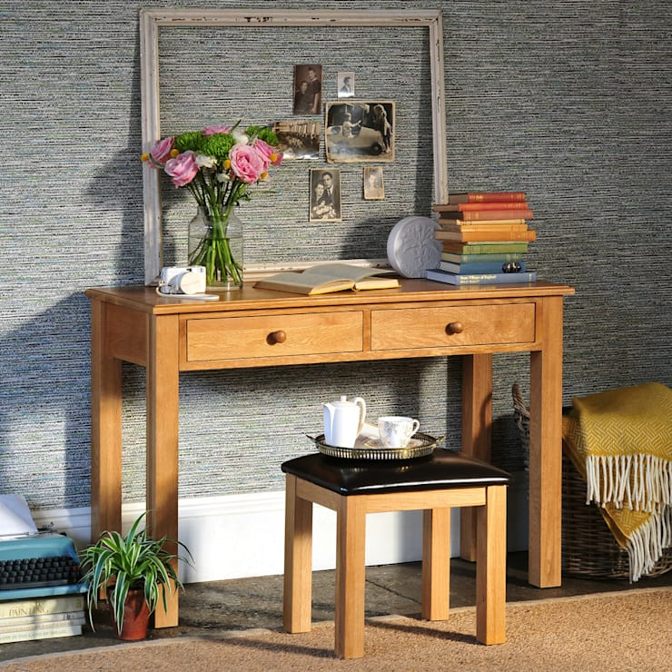 Appleby Oak Wide Laptop Desk:  Bedroom by The Cotswold Company