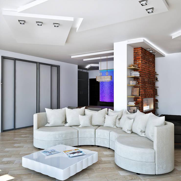 Светлая квартира: Гостиная в . Автор – AbcDesign