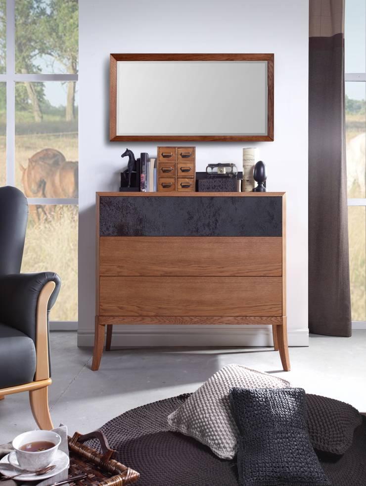 komoda Drem dąb amber ze spiekiem kwarcowym: styl , w kategorii Sypialnia zaprojektowany przez Swarzędz Home ,
