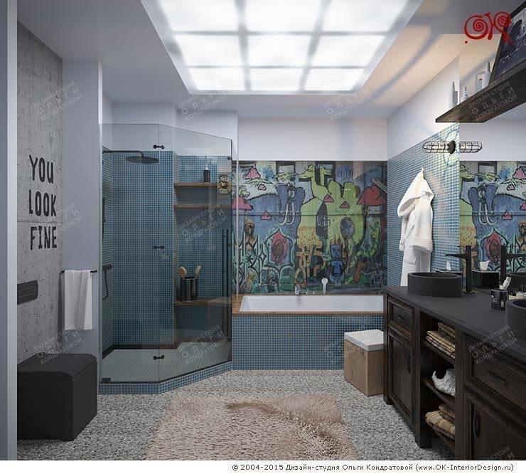 Дизайн 4-комнатной квартиры с элементами лофта: Ванные комнаты в . Автор – Дизайн студия Ольги Кондратовой