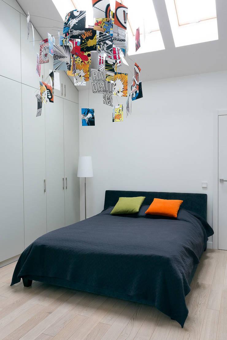 Mieszkanie na Gocławiu: styl , w kategorii Sypialnia zaprojektowany przez Jacek Tryc-wnętrza,Nowoczesny