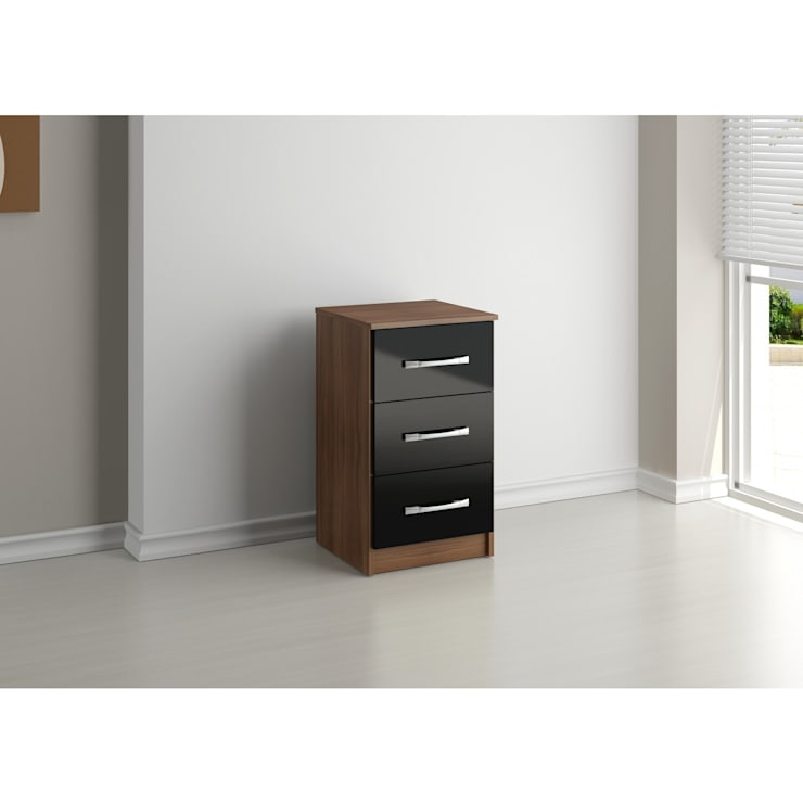 Bonsoni MDP Lynx 3 Drawer Bedside Walnut & Black: country Corridor, hallway & stairs by Bonsoni.com