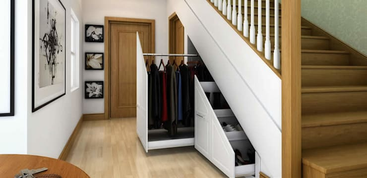 Innovative storage solutions.:  Corridor & hallway by Chase Furniture
