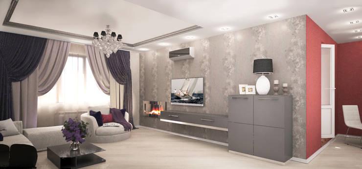 Квартира-студия для молодой девушки: Гостиная в . Автор – Гурьянова Наталья