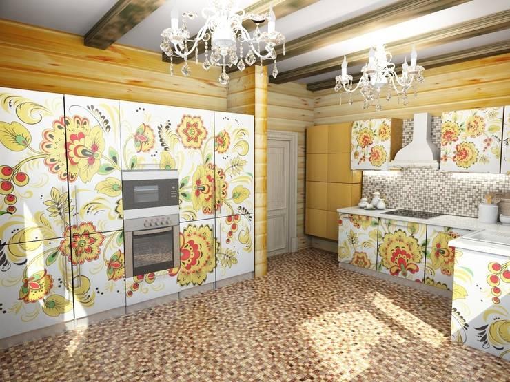 Кухня в русском стиле в деревянном коттедже: Столовые комнаты в . Автор – Гурьянова Наталья, Эклектичный