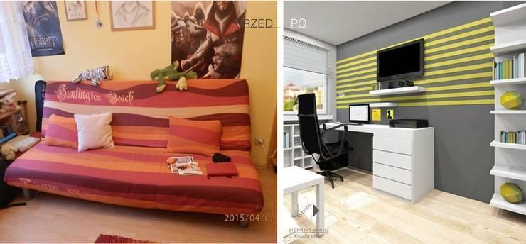 Pokój nastolatka w Dąbrowie Górniczej : styl , w kategorii  zaprojektowany przez Architekt wnętrz Klaudia Pniak