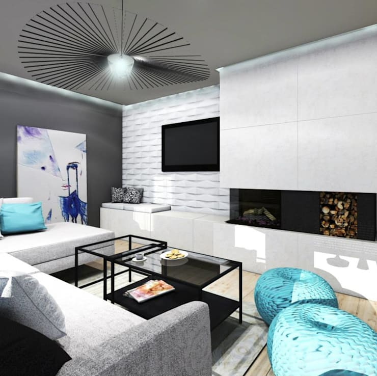Dom w Dąbrowie Górniczej : styl , w kategorii Salon zaprojektowany przez Architekt wnętrz Klaudia Pniak