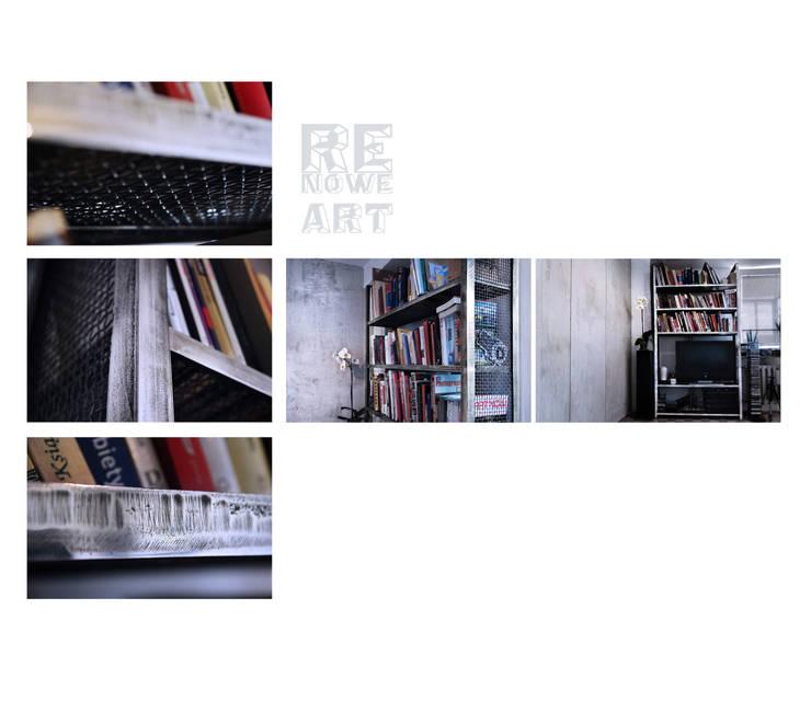 Stalowy regał : styl , w kategorii Salon zaprojektowany przez ReNowe Art