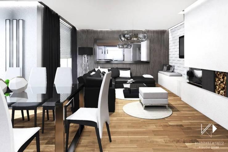 Dom w Dąbrowie Górniczej : styl , w kategorii Salon zaprojektowany przez Architekt wnętrz Klaudia Pniak,Nowoczesny