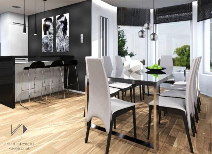 Dom w Dąbrowie Górniczej : styl , w kategorii Jadalnia zaprojektowany przez Architekt wnętrz Klaudia Pniak,Nowoczesny
