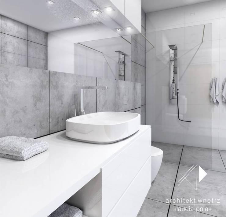 Beton i biel: styl , w kategorii Łazienka zaprojektowany przez Architekt wnętrz Klaudia Pniak
