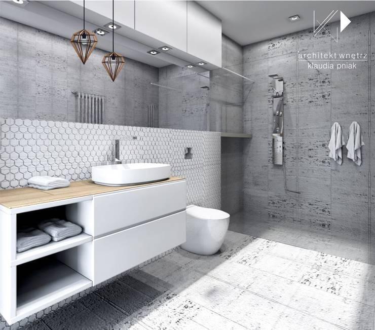 Beton i biel wersja 2: styl , w kategorii Łazienka zaprojektowany przez Architekt wnętrz Klaudia Pniak