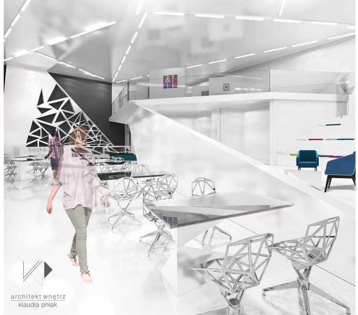 Czytelnia z mini galerią sztuki w Chorzowie : styl , w kategorii Gastronomia zaprojektowany przez Architekt wnętrz Klaudia Pniak