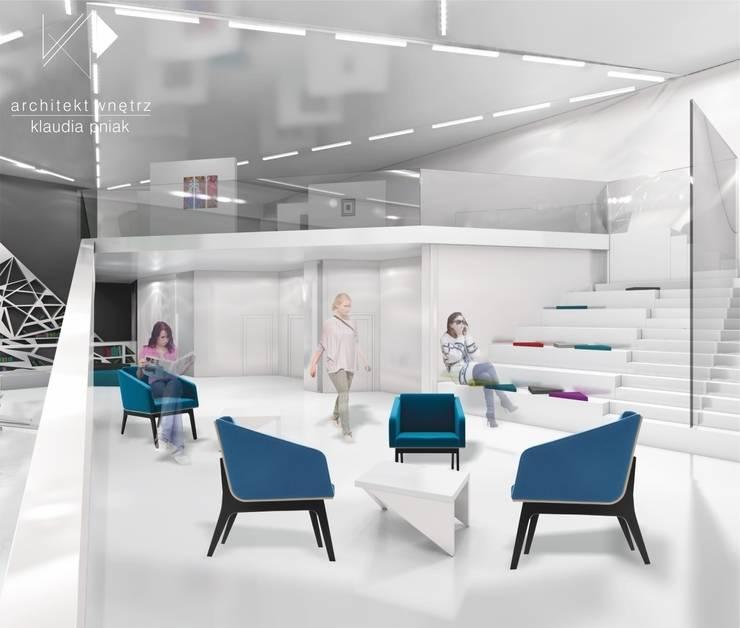 Czytelnia z mini galerią sztuki w Chorzowie : styl , w kategorii Przestrzenie biurowe i magazynowe zaprojektowany przez Architekt wnętrz Klaudia Pniak