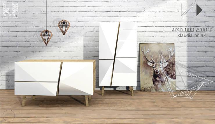 Mebel - geometryczna komoda : styl , w kategorii Korytarz, hol i schody zaprojektowany przez Architekt wnętrz Klaudia Pniak