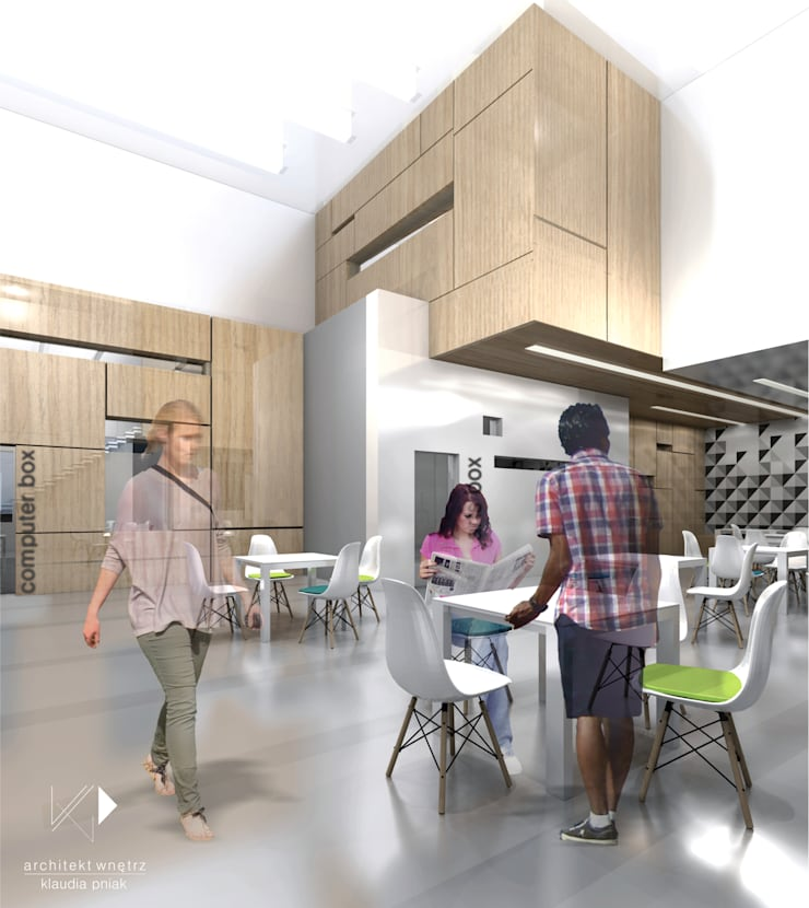 KWADRATY - Centrum edukacyjne & bistro cafe w Katowicach : styl , w kategorii Centra kongresowe zaprojektowany przez Architekt wnętrz Klaudia Pniak,Nowoczesny