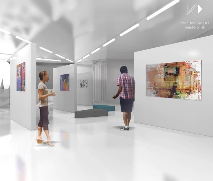 Czytelnia z mini galerią sztuki w Chorzowie : styl , w kategorii Muzea zaprojektowany przez Architekt wnętrz Klaudia Pniak