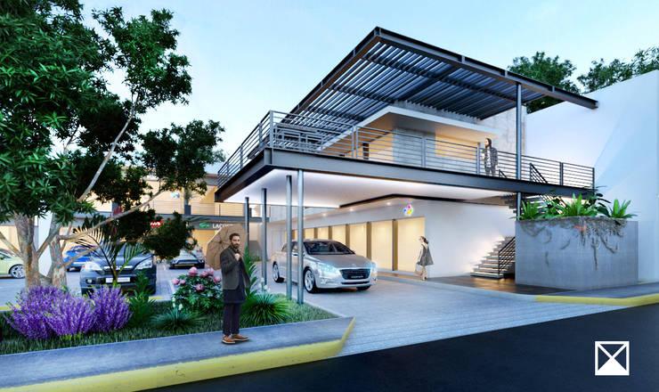 Hiên, sân thượng phong cách công nghiệp bởi ANGOLO-grado arquitectónico Công nghiệp