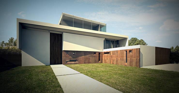 Residência MTZ: Casas modernas por MeiaUm Arquitetos