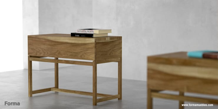 Mesas de Luz en madera maciza: Dormitorios de estilo moderno por Forma muebles
