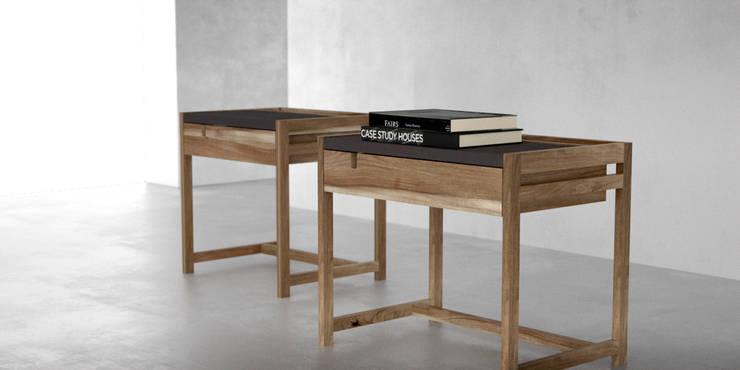 Mesas de luz madera y cuero: Dormitorios de estilo moderno por Forma muebles
